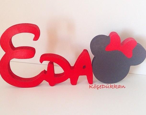 Minnie Mouse konsept ahşap ismimiz Eda için